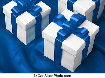gift on blue satin background