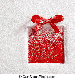 gift on snow background