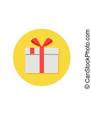 Gift or present box icon with red ribbon and bow.
