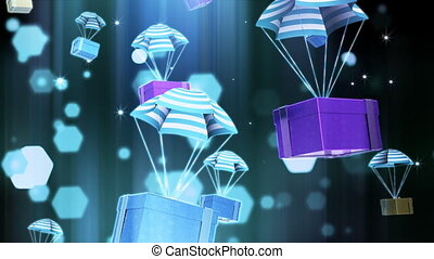 Computer-rendered animation for TV or celebration with piles of parachutes which are gift packages.