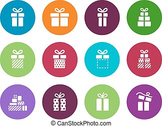 Gift package circle icons on white background.