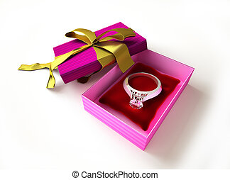 Gift package, with ring and diamond