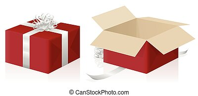 Gift Package Wrapped Unwrapped Red Parcel