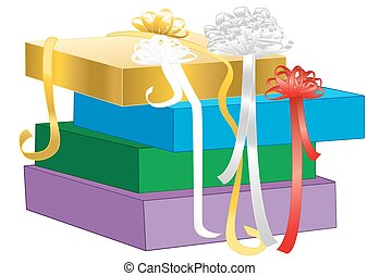 Gift Packaging Box Wrapping Bow Of Ribbon