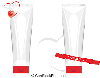 Gift packaging with cream isolated on the white background....