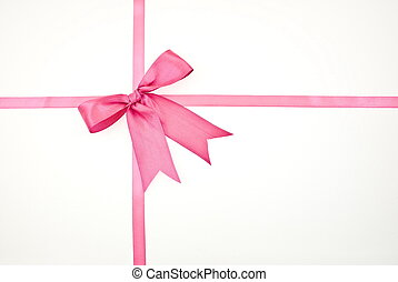 Gift packaging with pink ribbons and bow
