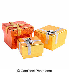Gift packs isolated on white