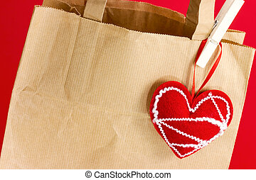 Gift paper bag with heart