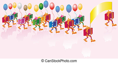 Gift parade - multicolored bright gifts with baloons parade
