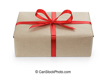 gift parcel box with ribbon bow