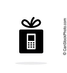 Gift phone icon on white background.