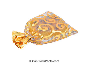 Gift pouch with handmade soap, isolated on white background