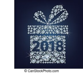 Gift present with 2018 made up a lot of diamonds