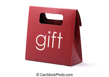 Gift red bag - Red elegance carton bag with GIFT word ...