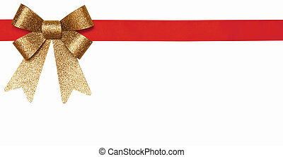 gift red ribbon and gold bow
