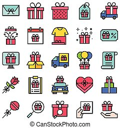 Gift related vector icon set 2, filled style