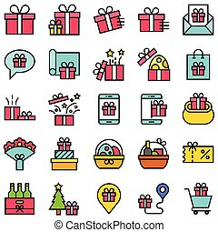 Gift related vector icon set, filled style