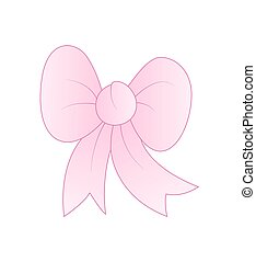 Gift Ribbon Bow - Vintage Pink Gift Ribbon Bow Vector...