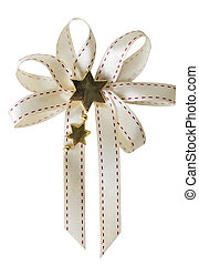 Gift ribbon bow isolated on white background with clipping path