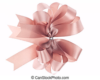Gift ribbon bow on white background