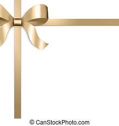 Gift Ribbon with Gold Satin Bow - Illustration of gold satin...