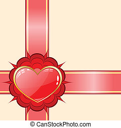 Gift ribbon with red heart
