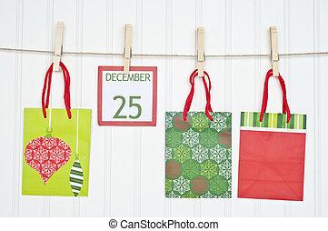 Gift Sack and Christmas Calendar Page on a Clothesline