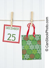 Gift Sack and Christmas Calendar Page on a Clothesline