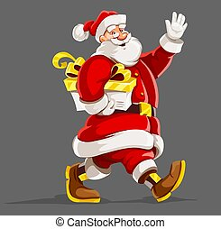 gift., santa, クリスマス, claus, illustration., ベクトル, holiday.