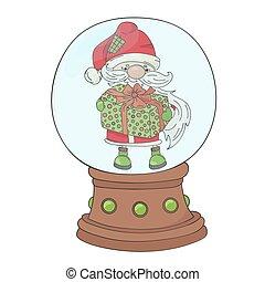 GIFT SANTA Merry Christmas New Year Vector Illustration Set