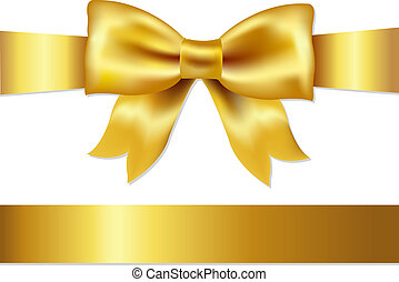 Gift Satin Bow - Golden Bow, Isolated On White Background,...