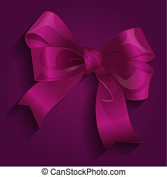 Gift satin ribbon bow, vector