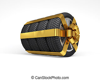 Gift set four tyres. 3d rendering - Gift set four tyres with...
