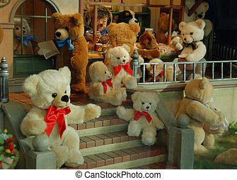Gift shop - Different children\'s toys playing in toy store