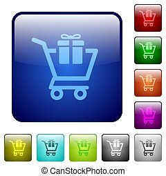 Gift shopping color square buttons