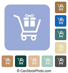 Gift shopping white flat icons on color rounded square backgrounds