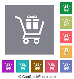 Gift shopping square flat icons