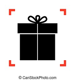 Gift sign. Black icon in focus corners on white background. Isol