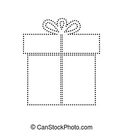 Gift sign. Vector. Black dotted icon on white background. Isolated.
