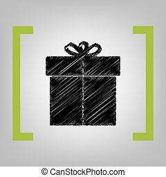 Gift sign. Vector. Black scribble icon in citron brackets on grayish background.