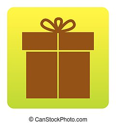 Gift sign. Vector. Brown icon at green-yellow gradient square with rounded corners on white background. Isolated.