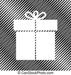 Gift sign. Vector. Icon. Hole in moire background.
