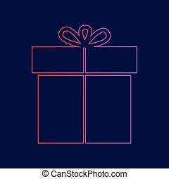 Gift sign. Vector. Line icon with gradient from red to violet colors on dark blue background.