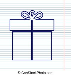 Gift sign. Vector. Navy line icon on notebook paper as background with red line for field.