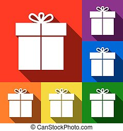 Gift sign. Vector. Set of icons with flat shadows at red, orange, yellow, green, blue and violet background.