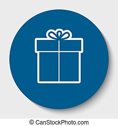 Gift sign. Vector. White contour icon in dark cerulean circle at white background. Isolated.
