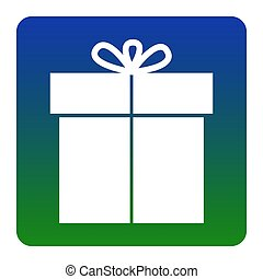 Gift sign. Vector. White icon at green-blue gradient square with rounded corners on white background. Isolated.