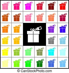 Gift sign with tag. Vector. Felt-pen 33 colorful icons at white and black backgrounds. Colorfull.