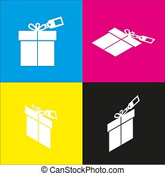 Gift sign with tag. Vector.