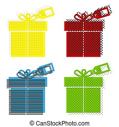 Gift sign with tag. Vector. Yellow, red, blue, green icons with